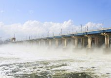 Reset of water at hydroelectric power station Royalty Free Stock Images