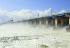 Reset of water at hydroelectric power station Royalty Free Stock Image