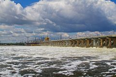 Reset of water at hydroelectric power station on the river Volga Stock Images