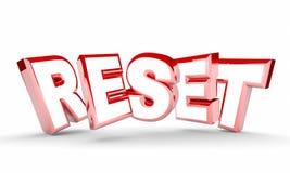 Reset Word Restart New Beginning Do Over. 3d Illustration stock illustration
