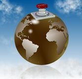 Reset world. Earth globe with a reset button on top of it with blue sky in the background Stock Image