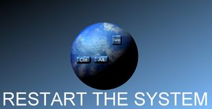 Reset the world. Illustration inviting to start again to give another chance to contemporary society Stock Photos