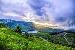 Resevoir Pays de Galles de Llyn très orageux Photos libres de droits
