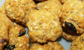 Resh baked chocolate chip oatmeal cookies-zoom Royalty Free Stock Photography