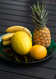 Resh exotic fruits on  black table Royalty Free Stock Photography
