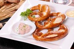 Resh German pretzel with salt Stock Photos