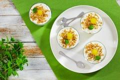 Resh-Jogurt mit dem Granola verziert mit Cocktailkirsche und -minze Lizenzfreie Stockbilder