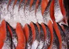 Resh orange-red salmon slices sushi Stock Photos