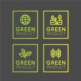 Resh organique, produit d'Eco, bio label d'ingrédient avec la feuille, la terre, Concep vert Photographie stock libre de droits