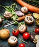 Resh various vegetables ingredients  and vegetable peeler Stock Photo