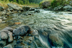 Reshi River water flowing on rocks at dawn, Sikkim, India Stock Photography