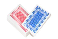 Reshuffling of red and blue decks of playing cards Stock Image