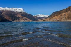 Resia/Reschen, Italy - 12 10, 2016: waves at the Resia lake Stock Image
