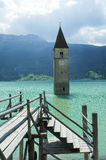 Resia, tower in the lake Royalty Free Stock Image