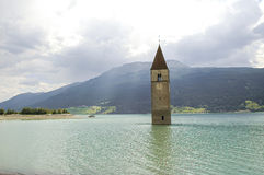 Resia, tower in the lake Royalty Free Stock Photography