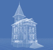 Residence. Abstract architectural 3D drawing of apartment house on blue Royalty Free Stock Photo