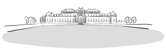 Residence Belvedere Vienna, Austria, Famous Landmark Sketch Stock Photo
