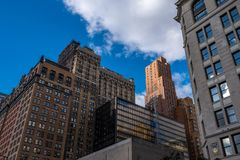Residence building in lower Manhattan against clear blue sky in New York City New York stock images