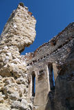 Residence of Countess Elizabeth Bathory. Summer view portraying ruined interior of Donjon, fortified refuge tower of Cachtice castle situated in the mountains stock photography