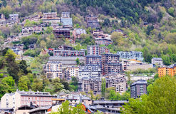 Residence district at mountains.  Andorra la Vella Royalty Free Stock Photography