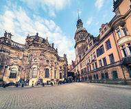 Residence of electors and kings of Saxony in Dresden. Majestic view of Castle or Royal Palace  Dresdner Residenzschloss, Dresdner Schloss . Artistic style post Royalty Free Stock Photo