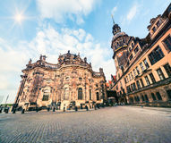 Residence of electors and kings of Saxony in Dresden. Majestic view of Castle or Royal Palace  Dresdner Residenzschloss, Dresdner Schloss . Artistic style post Stock Image