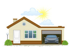 Residence. House with garage and car on a white background Royalty Free Stock Image
