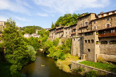 Residence houses of old Catalan village Stock Photos