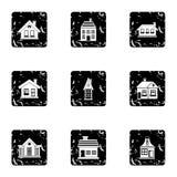 Residence icons set, grunge style Stock Photography