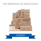 Residence of Imam Yahya Yemen attraction travel sightseeing. Residence of Imam Yahya in Yemen. Flat cartoon style historic sight showplace attraction web site royalty free illustration