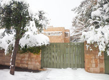 Residence of Jerusalem mayor in snow. JERUSALEM, Israel - FEBRUARY 20, 2015: Residence of the mayor of Jerusalem blocked with snow during a massive snowfall in royalty free stock image