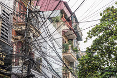 Residence and Messy Wires Stock Image