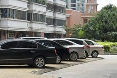 Residence parking. Citizens outdoor car parking Stock Photos