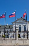 Residence of the president of Slovakia in Bratislava. National flags of Slovakia in front of the Residence of the president of Slovakia (Grassalkovich Palace Stock Photos