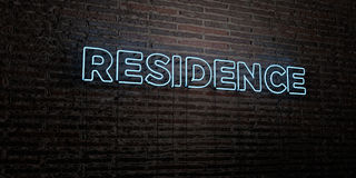 RESIDENCE -Realistic Neon Sign on Brick Wall background - 3D rendered royalty free stock image. Can be used for online banner ads and direct mailers royalty free illustration