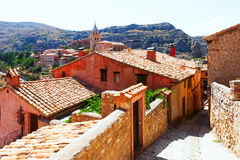 Residence stony houses in Albarracin.  Aragon Stock Image