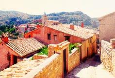 Residence stony houses in Albarracin.  Aragon Stock Image