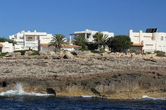 Residences, Cruise Ship from Es Forti, Cala d´Or, Cala Gran, Cala Esmeralda, Cala Ferrera to Porto Colom, Majorca Stock Image