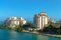 Residences at Fisher Island- Modern waterfront building. An exclusive community in an artificial island off shore Miami, Southern Florida, US royalty free stock images