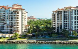 Residences at Fisher Island- Modern waterfront building. An exclusive community in an artificial island off shore Miami, Southern Florida, US stock photography