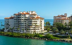 Residences at Fisher Island- Modern waterfront building. An exclusive community in an artificial island off shore Miami, Southern Florida, US royalty free stock photo