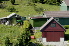 Residences Near Lysefjord. Residential buildings in Norway County near Lysefjord (meaning: light fjord Royalty Free Stock Photo