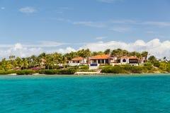 Residences off Antigua. The coastline of residences off Antigua Stock Photo