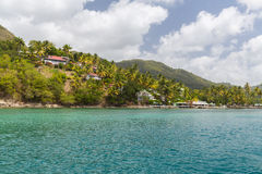 Residences off St Lucia. Taken from a Catamaran off the coast of St Lucia Royalty Free Stock Photos