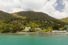 Residences off St Lucia. Taken from a Catamaran off the coast of St Lucia Stock Image