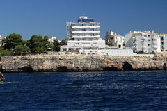 Residences, Rock, Cruise Ship from Es Forti, Cala d´Or, Cala Gran, Cala Esmeralda, Cala Ferrera to Porto Colom, Majorca Stock Photo