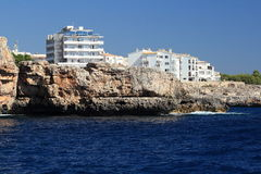 Residences, Rock, Cruise Ship from Es Forti, Cala d´Or, Cala Gran, Cala Esmeralda, Cala Ferrera to Porto Colom, Majorca Royalty Free Stock Images