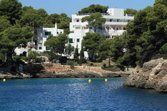 Residences, Rock, Cruise Ship from Es Forti, Cala d´Or, Cala Gran, Cala Esmeralda, Cala Ferrera to Porto Colom, Majorca, Spain Royalty Free Stock Photo