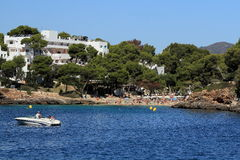 Residences, Rock, Cruise Ship from Es Forti, Cala d´Or, Cala Gran, Cala Esmeralda, Cala Ferrera to Porto Colom, Majorca, Spain Royalty Free Stock Photography