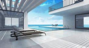 Residencia de la casa de verano con la piscina Imagen de archivo